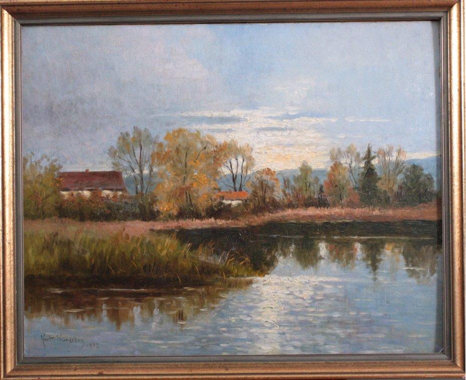 Kurt Wünschig, Seenlandschaft mit Gebäuden