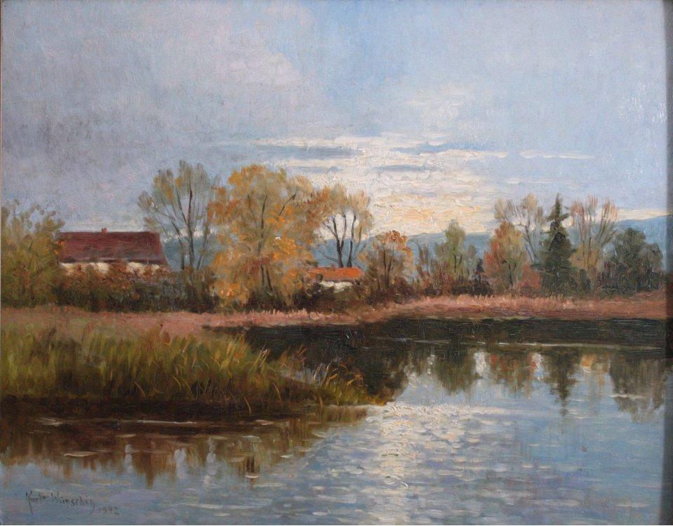 Kurt Wünschig, Seenlandschaft mit Gebäuden-1