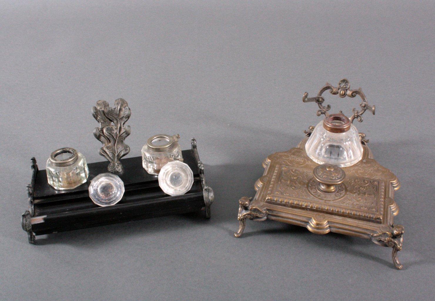 2 Schreibtischgarnituren um 1900