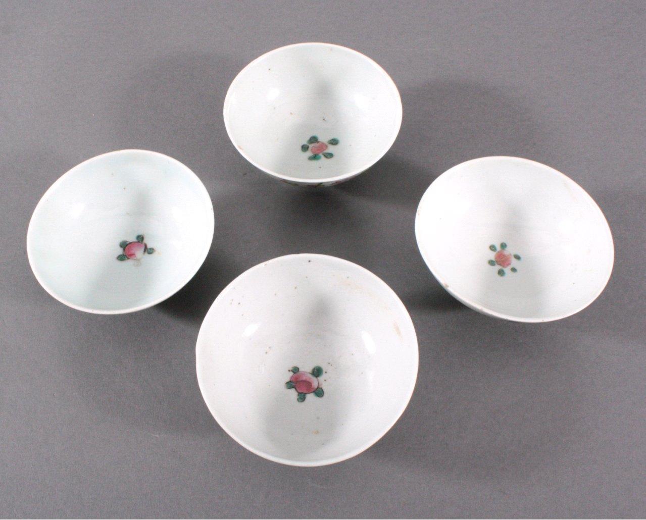 4 Koppchen, China um 1900