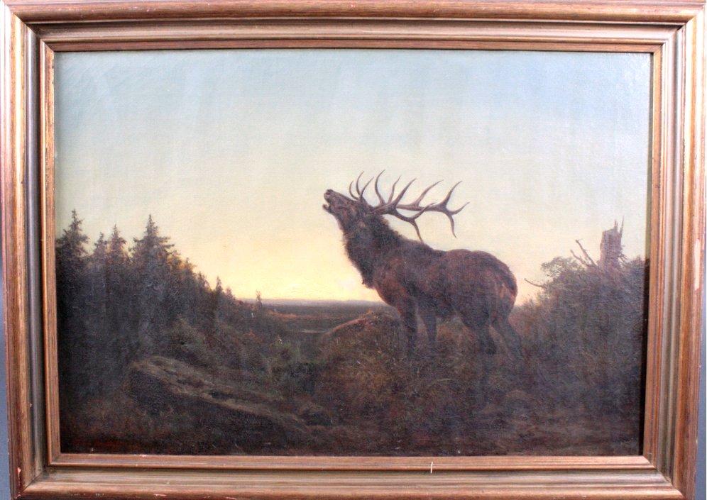 A. Tilch, Maler ds 19. Jh., Röhrender Hirsch