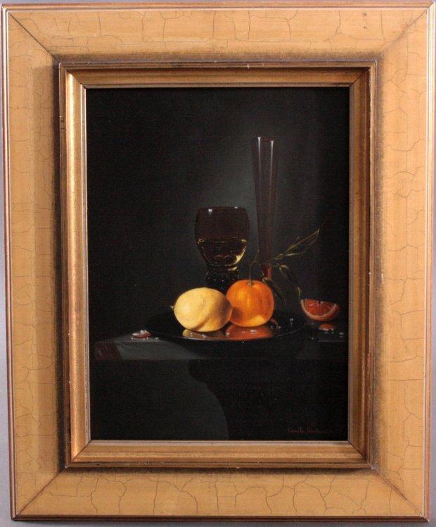 Stilllebem mit Glas, Vase und Obst