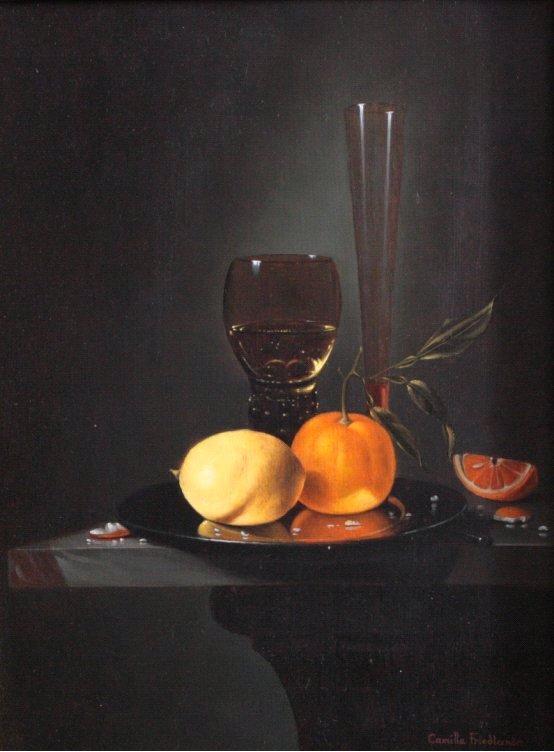 Stilllebem mit Glas, Vase und Obst-1