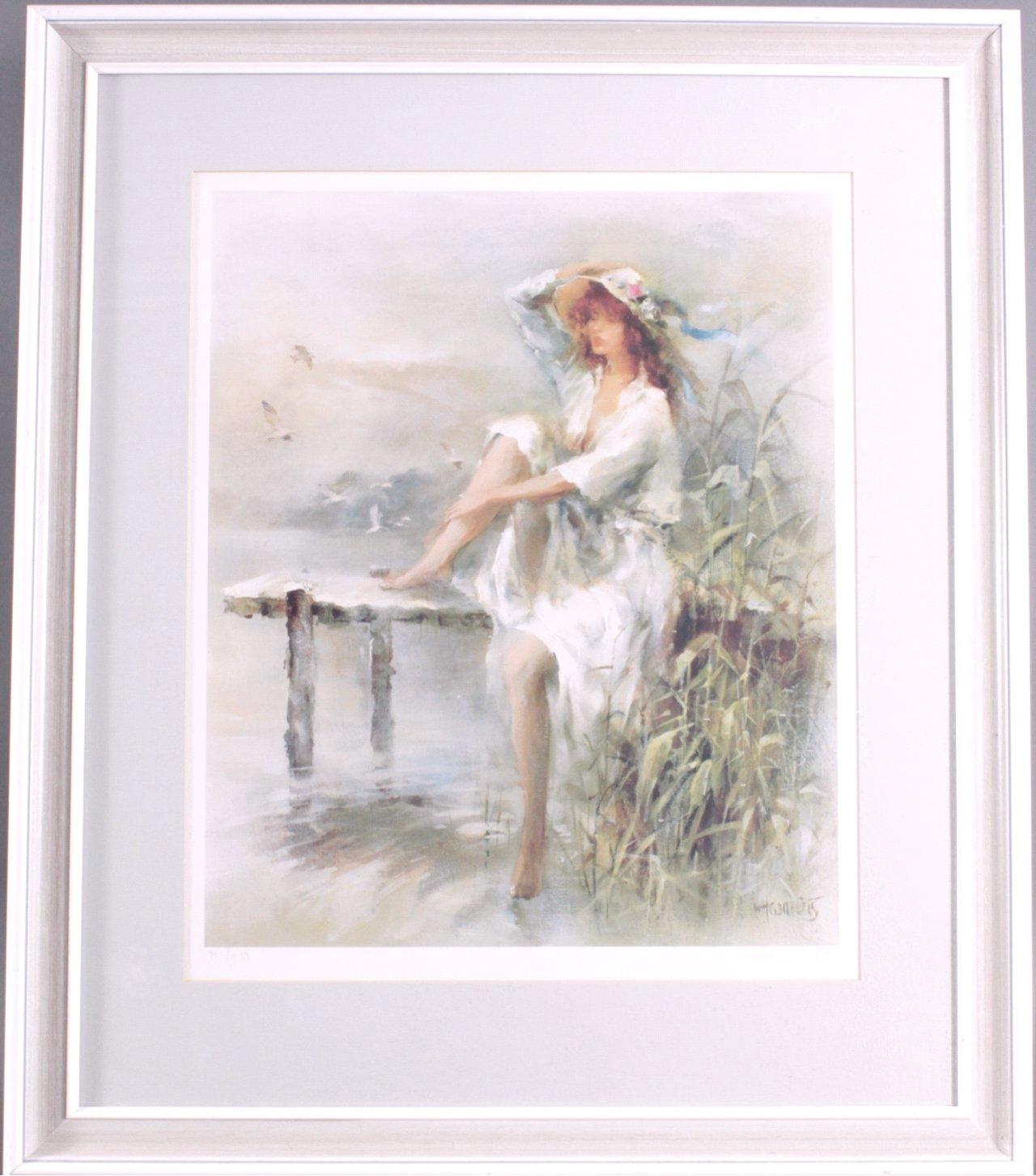 Fablithographie junge Dame auf einem Steg sitzend