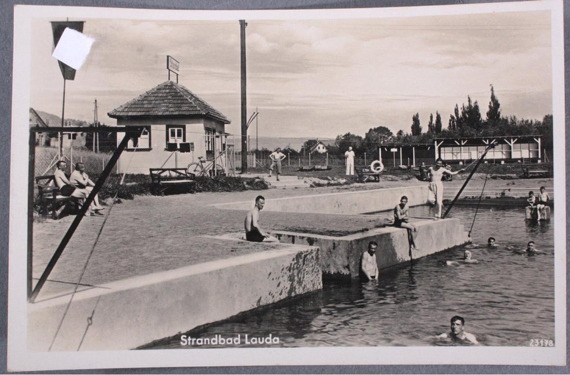 """Postkarte 2. WK """"Strandbad Lauda"""""""