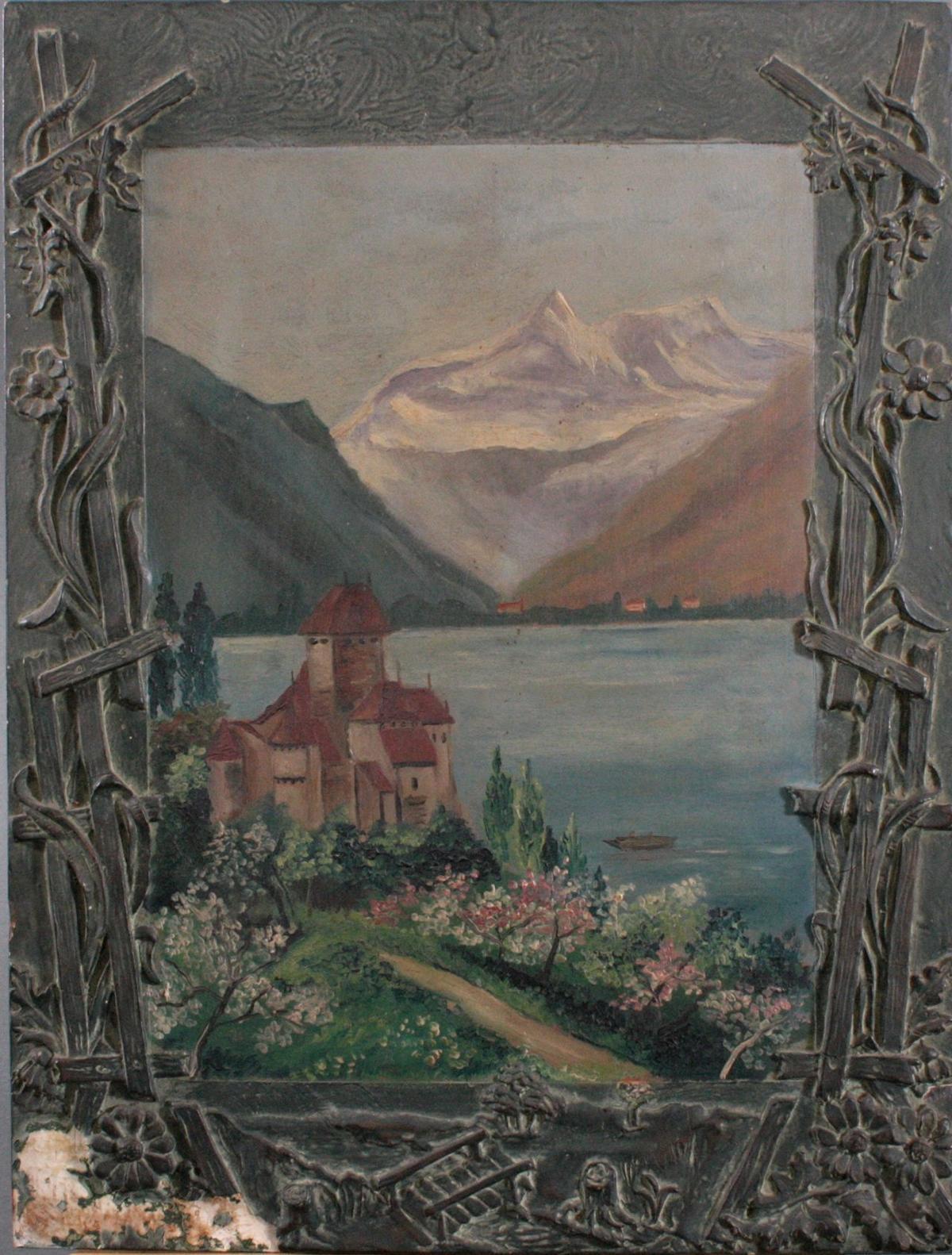 Seenlandschaft mit Burg um 1900