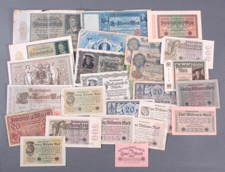 Konvolut Banknoten und Notgeldscheine Deutsches Reich