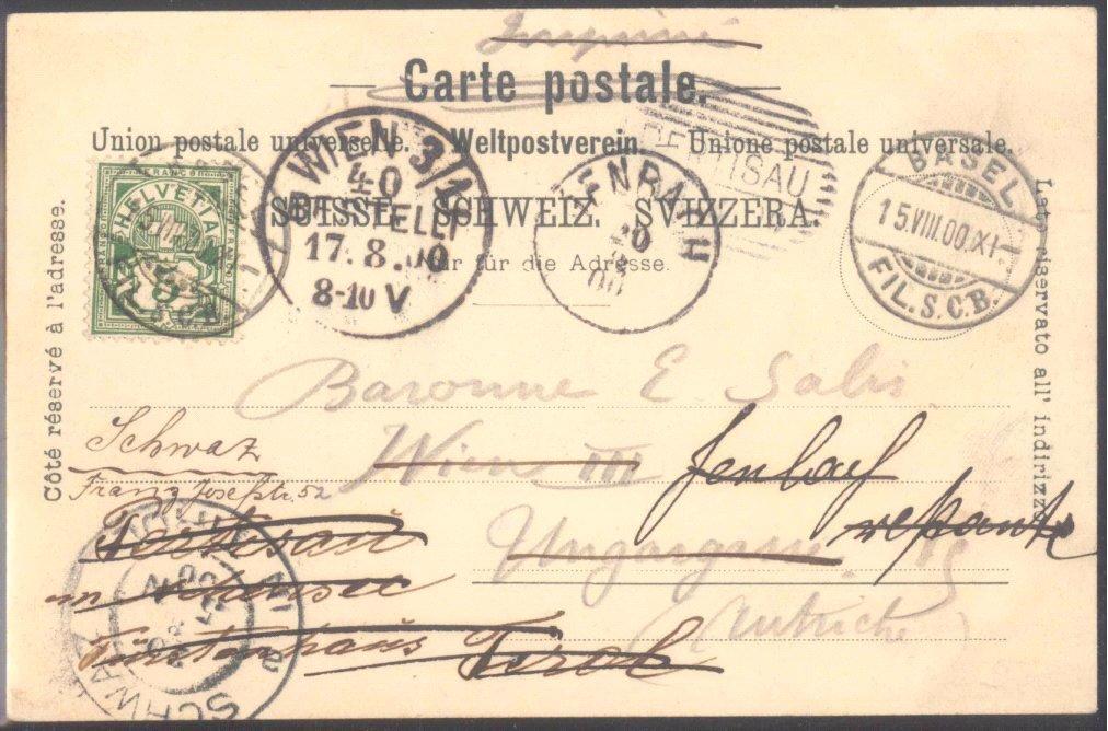 ÖSTERREICH / SCHWEIZ 1900,schöner IRRLÄUFER BASEL nach WIEN,