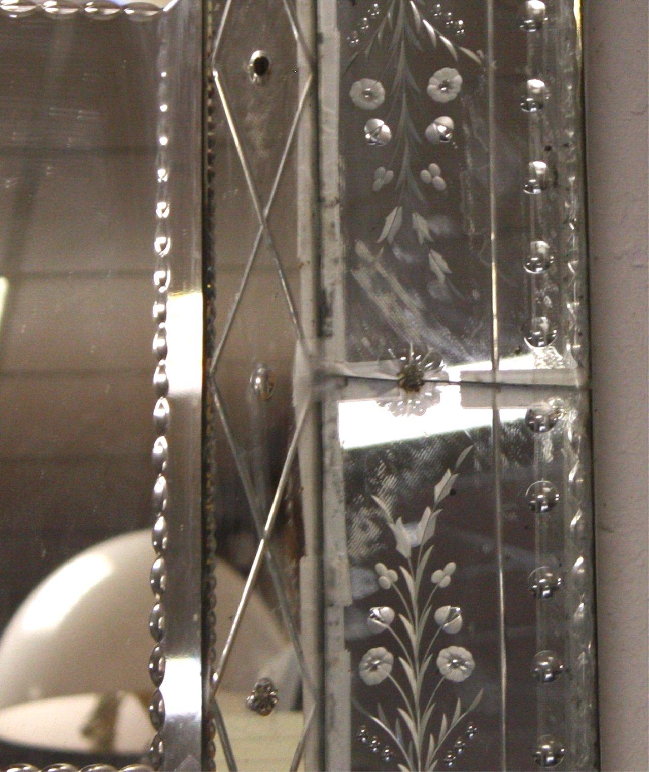 Murano Glas Spiegel, 1950er-1