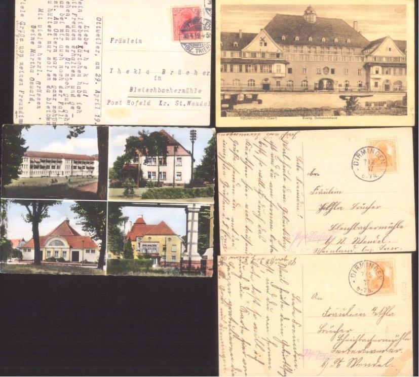 SAARLAND 1917-1955, interessantes Lot, DIRMINGEN!!