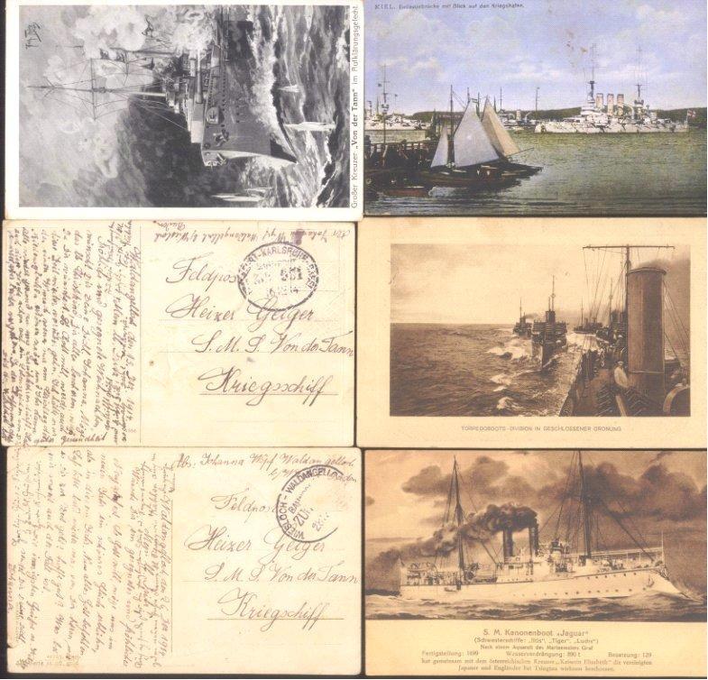 MARINE – SCHIFFSPOST 1914, Ansichtskarten Schiffe