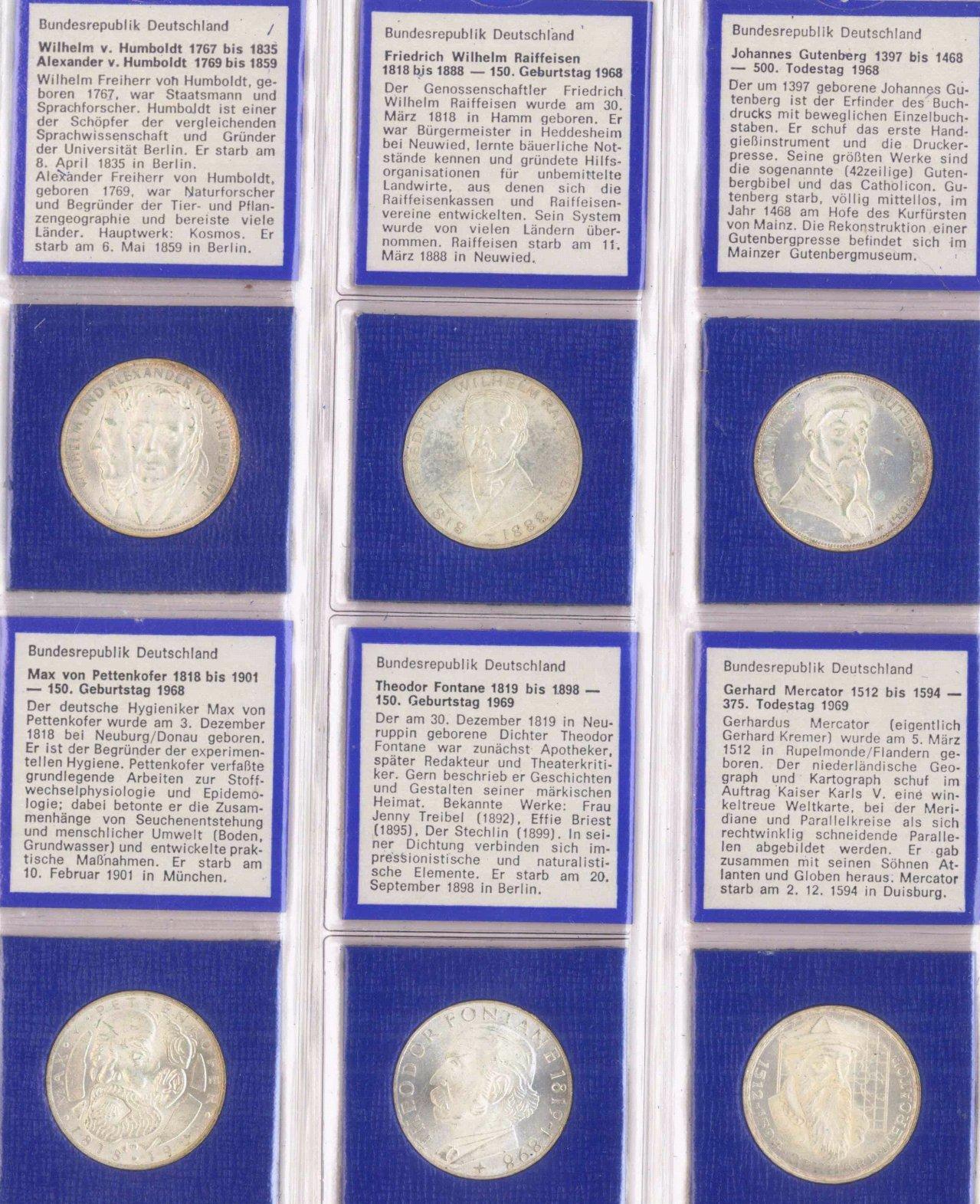 Sammlung der 5 DM Gedenkmünzen