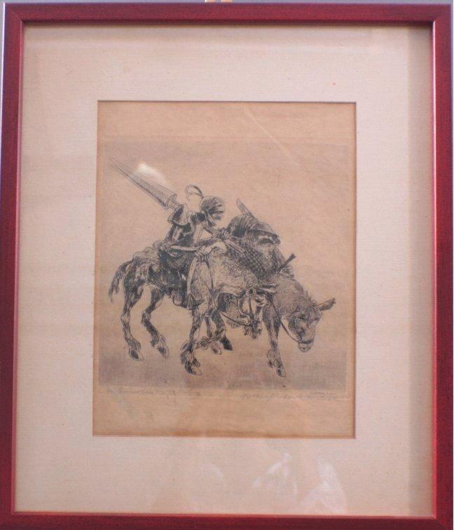 Radierung, Don Quichote / Sancho Pansa, Rudolf Eberle