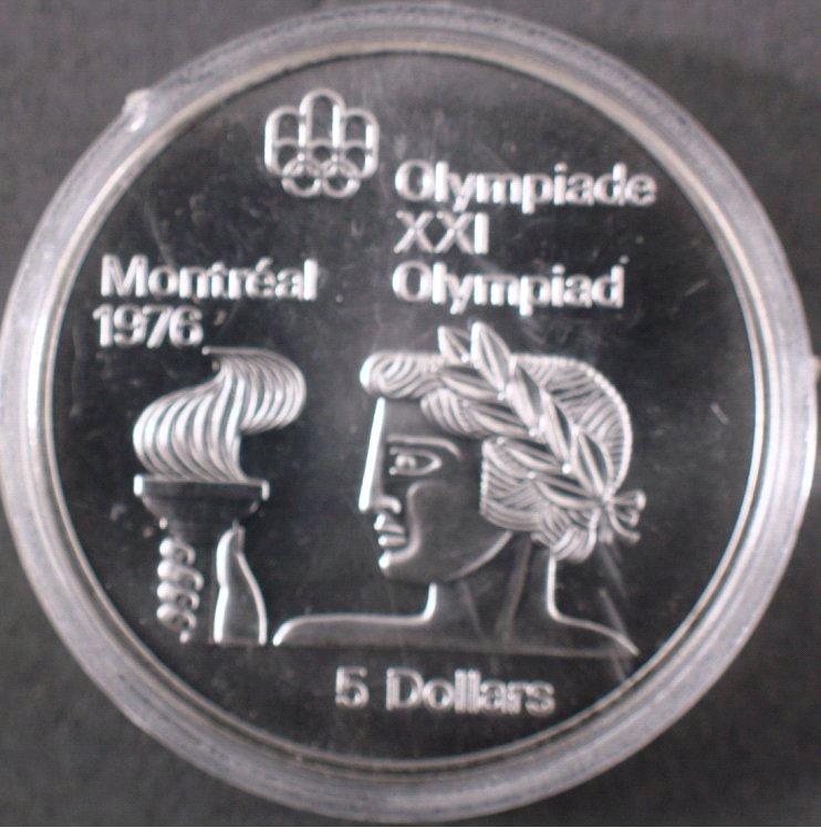 Silbermünze 5 Dollars Canada, Montreal 1976 PP-1