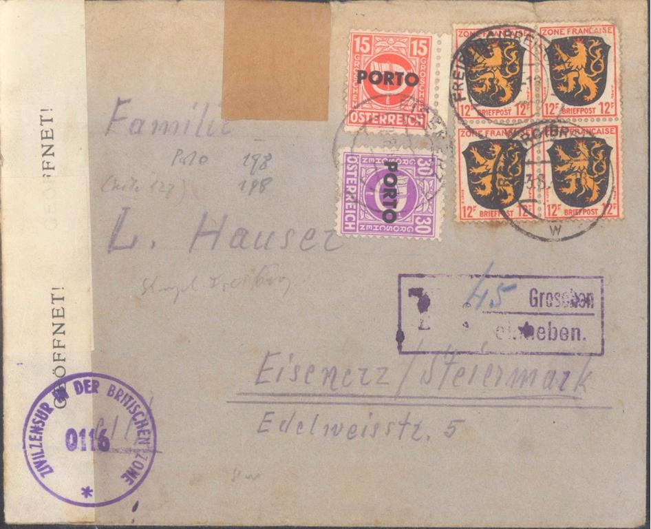 1946 FRANZÖSISCHE ZONE, ZENSURBRIEF mit Österreich Nachporto