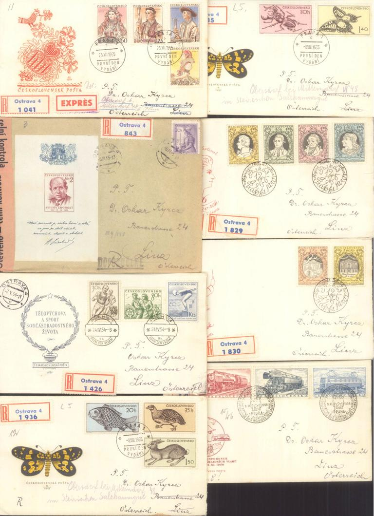 TSCHECHOSLOWAKEI 1952 – 1958 ERSTTAGSBRIEFE, KW 350,- Euro
