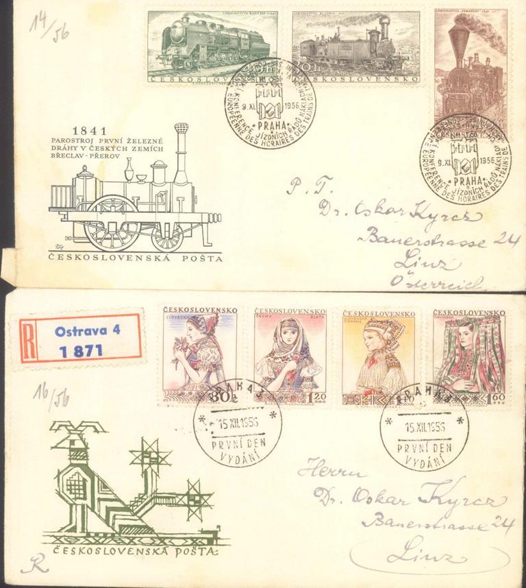 TSCHECHOSLOWAKEI 1952 – 1958 ERSTTAGSBRIEFE, KW 350,- Euro-1