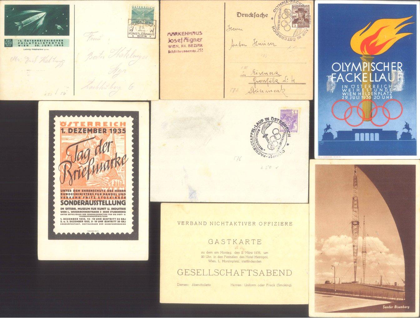 ÖSTERREICH 1935-1955, interessanter Belegeposten
