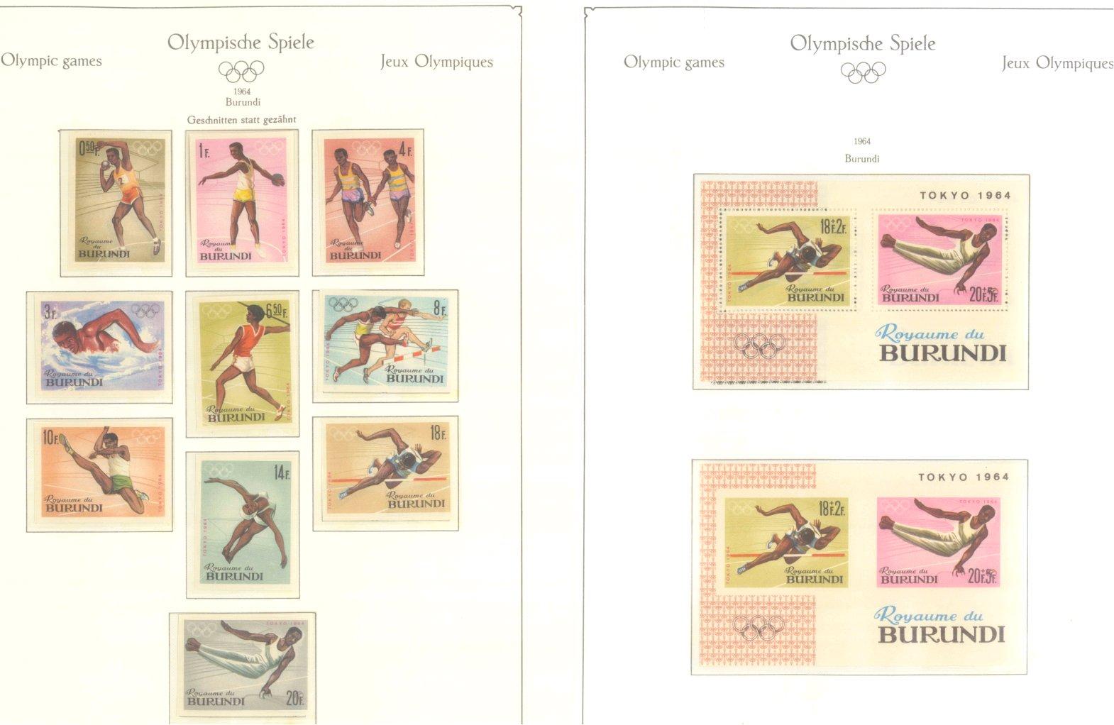OLYMPISCHE SPIELE 1964 TOKIO, postfrische Sammlung Teil 1-4