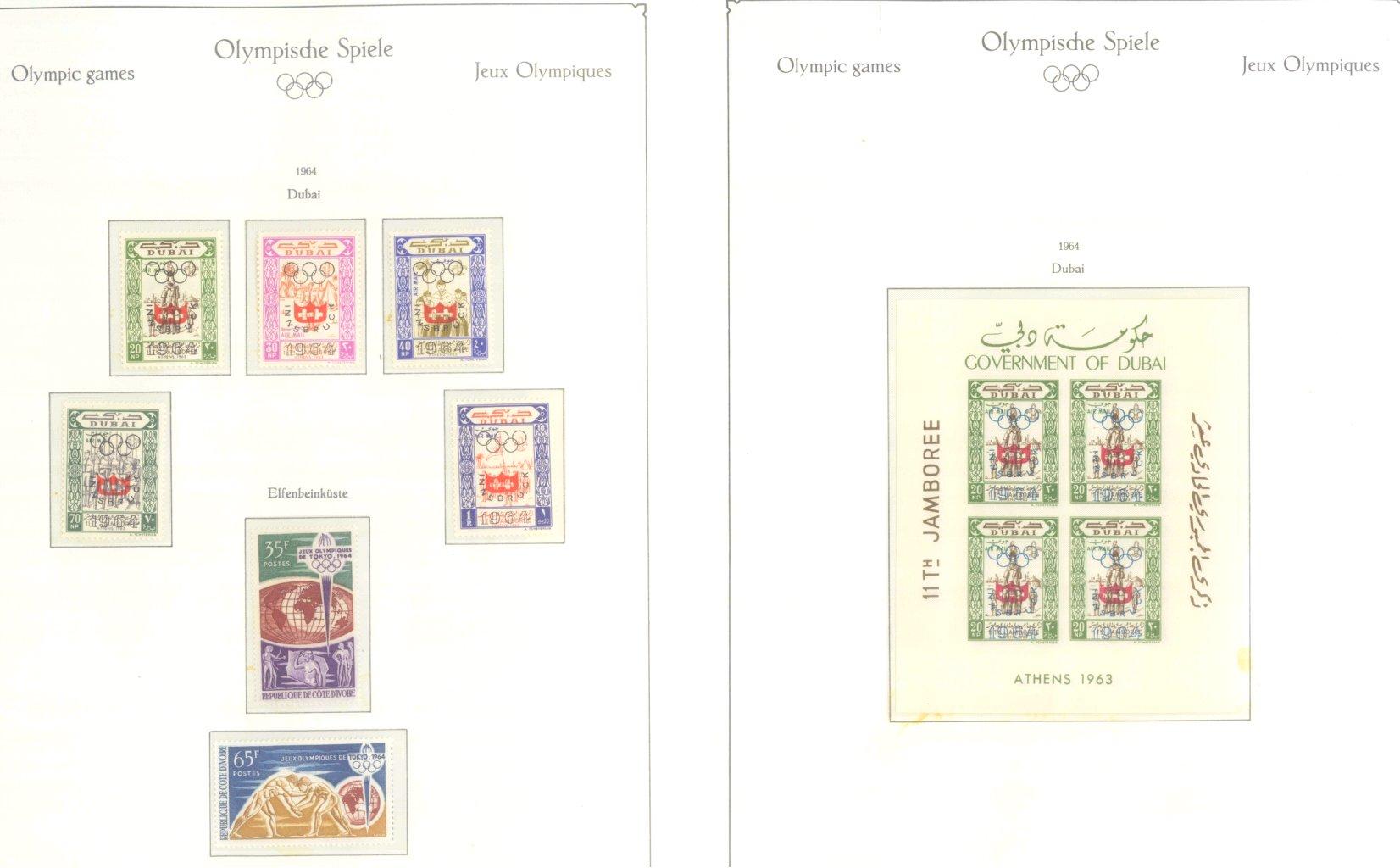 OLYMPISCHE SPIELE 1964 TOKIO, postfrische Sammlung Teil 1-7