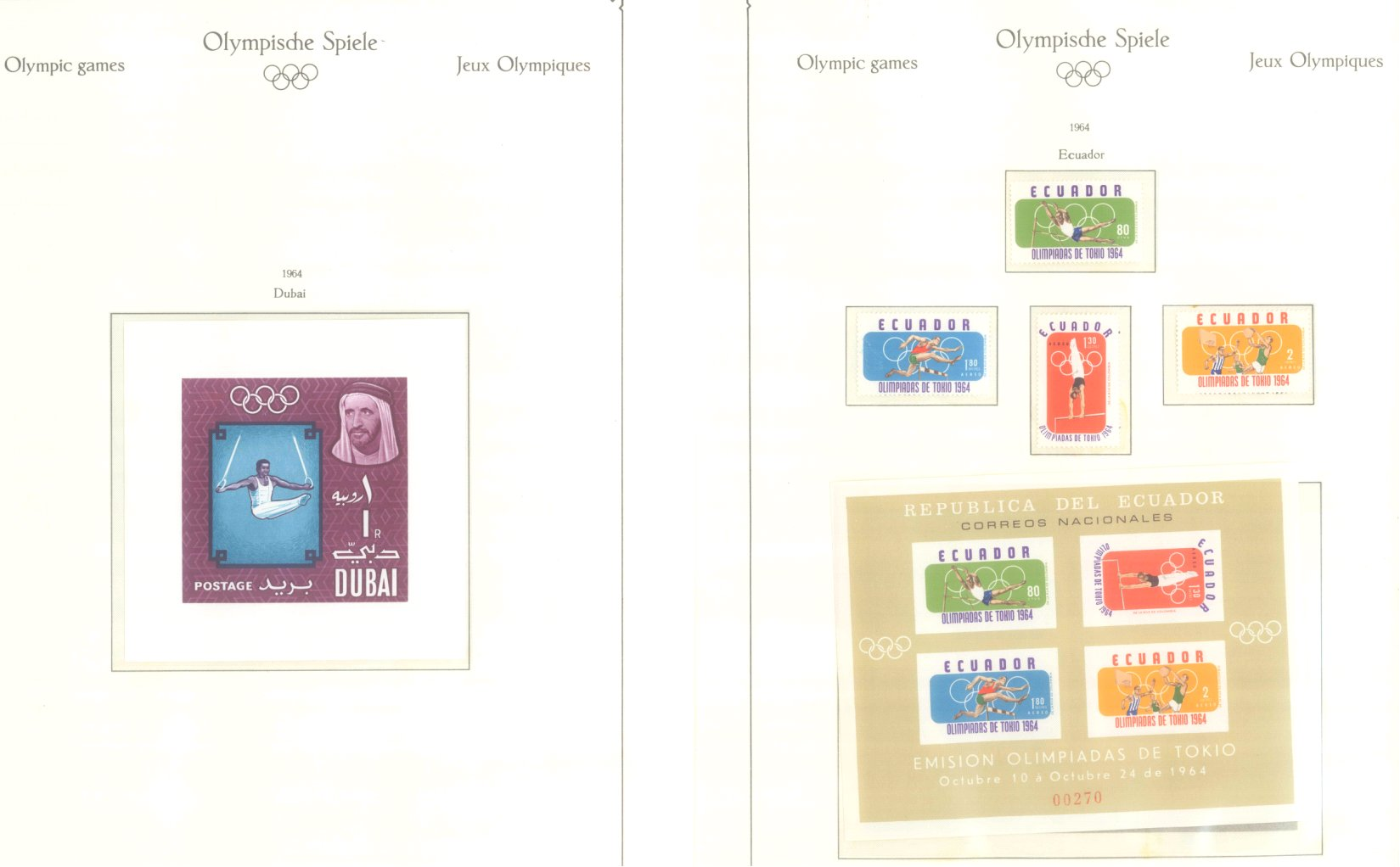OLYMPISCHE SPIELE 1964 TOKIO, postfrische Sammlung Teil 1-11