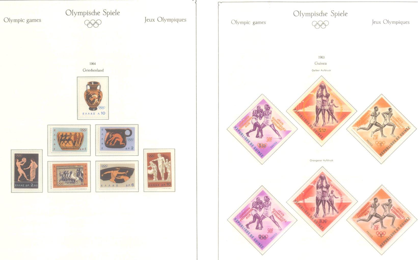 OLYMPISCHE SPIELE 1964 TOKIO, postfrische Sammlung Teil 1-16