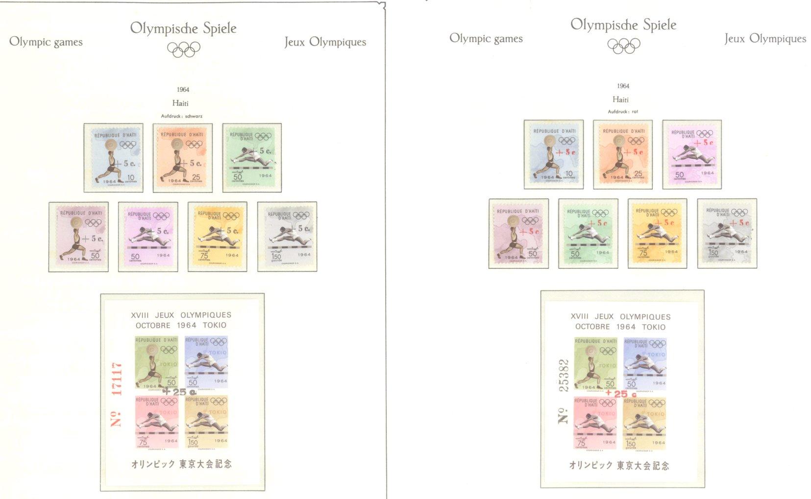 OLYMPISCHE SPIELE 1964 TOKIO, postfrische Sammlung Teil 1-21