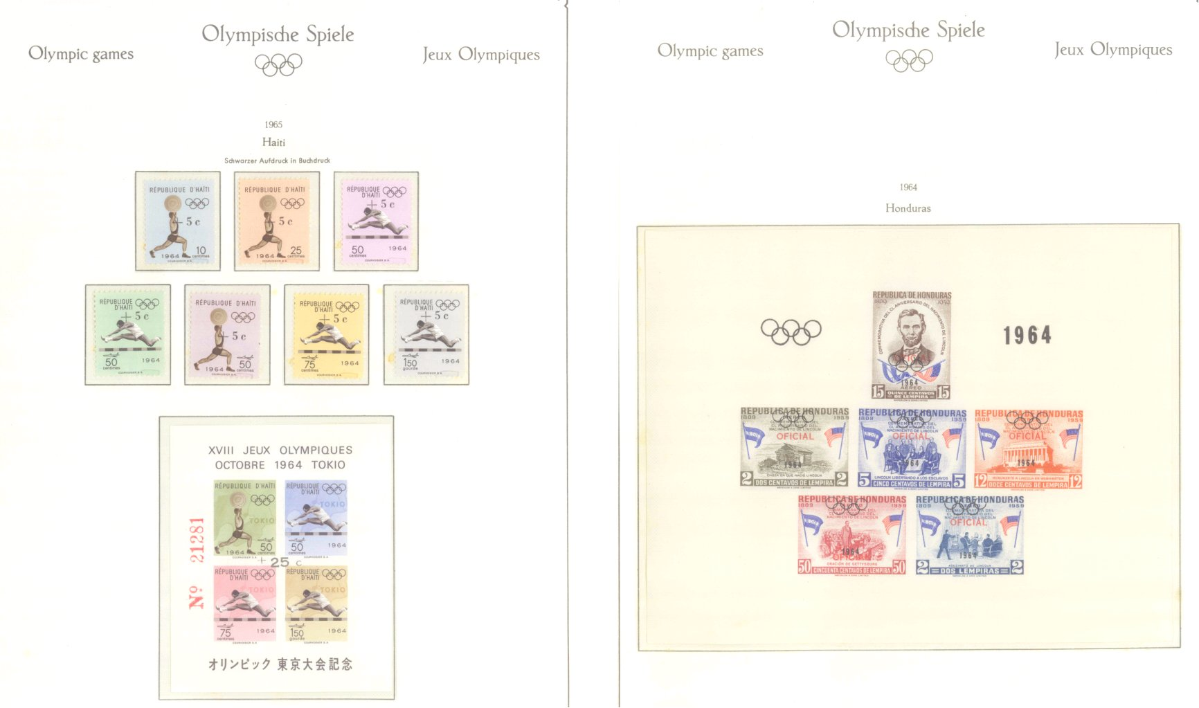 OLYMPISCHE SPIELE 1964 TOKIO, postfrische Sammlung Teil 1-22
