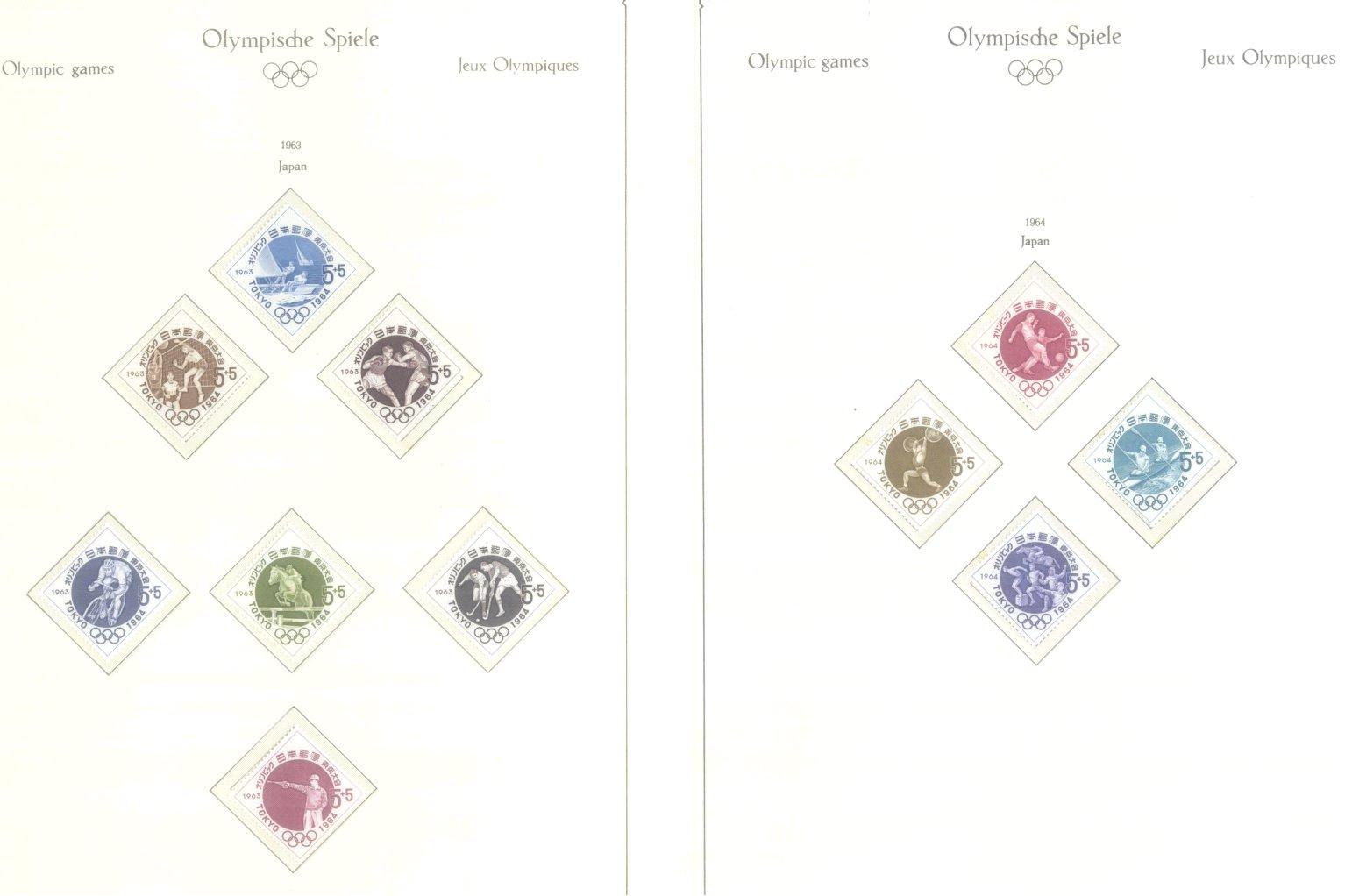 OLYMPISCHE SPIELE 1964 TOKIO, postfrische Sammlung Teil 1-26