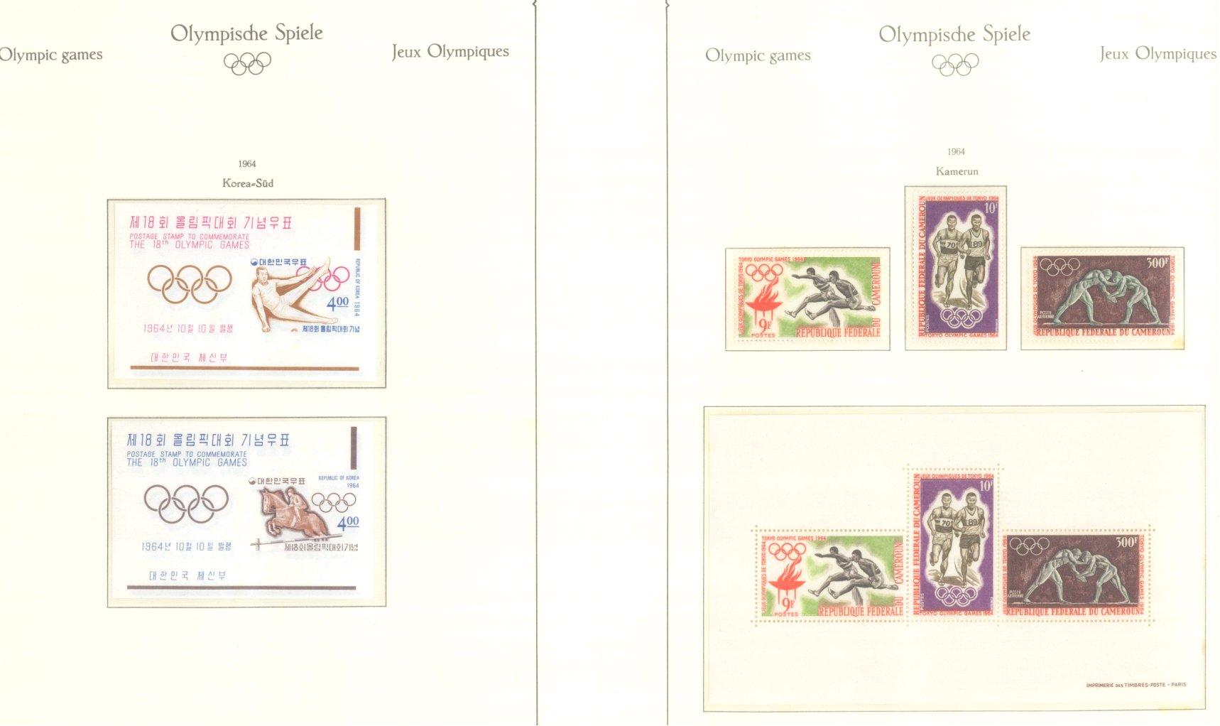 OLYMPISCHE SPIELE 1964 TOKIO, postfrische Sammlung Teil 1-36