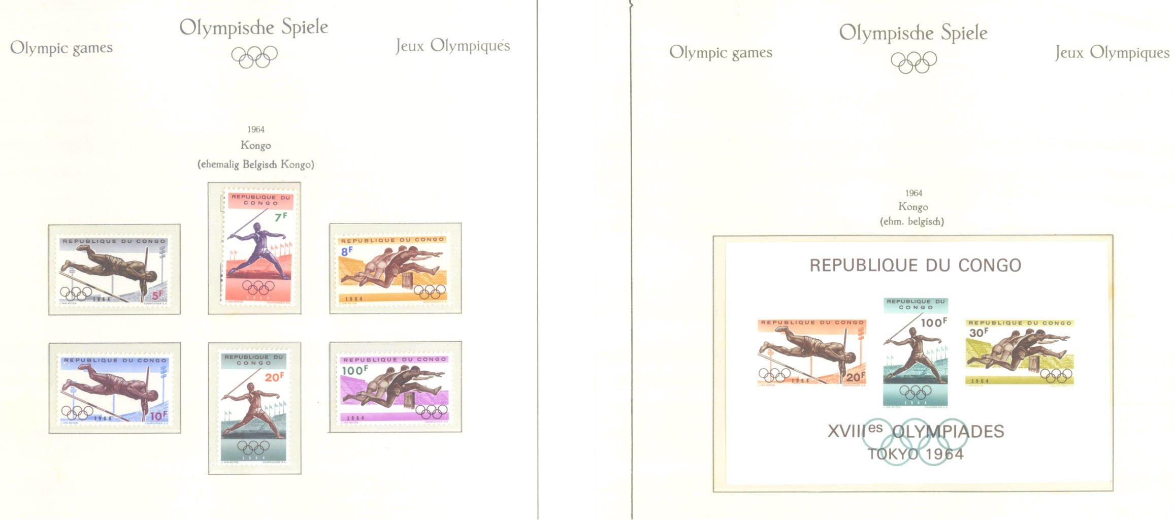 OLYMPISCHE SPIELE 1964 TOKIO, postfrische Sammlung Teil 1-37