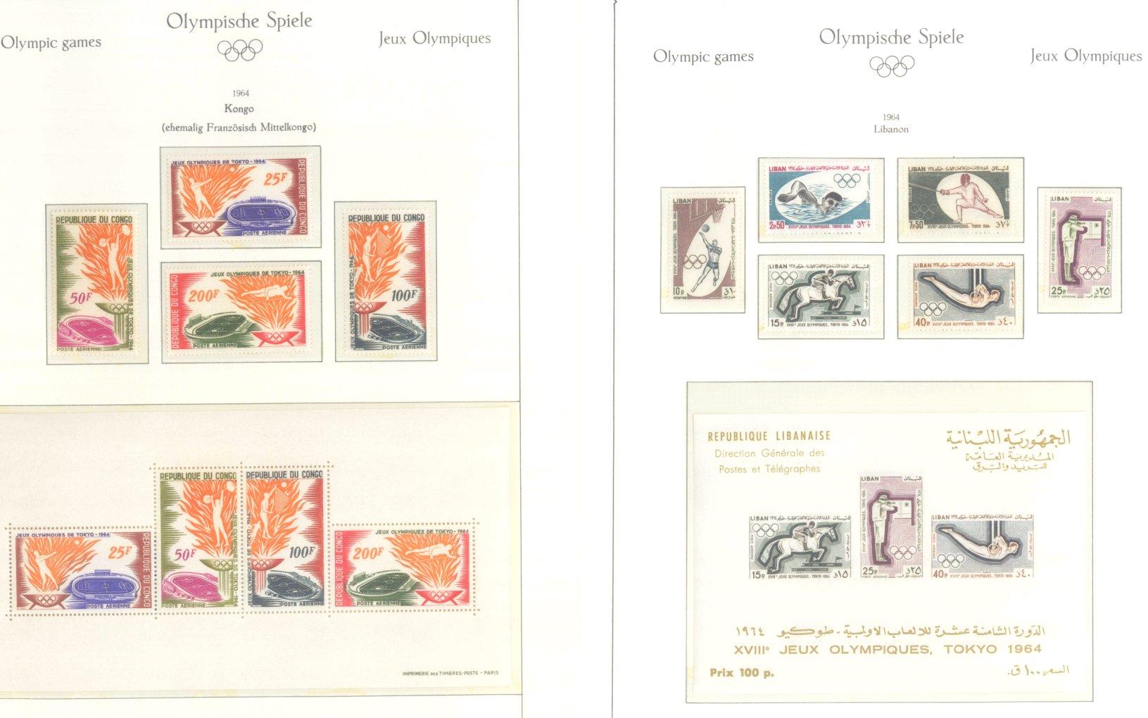 OLYMPISCHE SPIELE 1964 TOKIO, postfrische Sammlung Teil 1-38