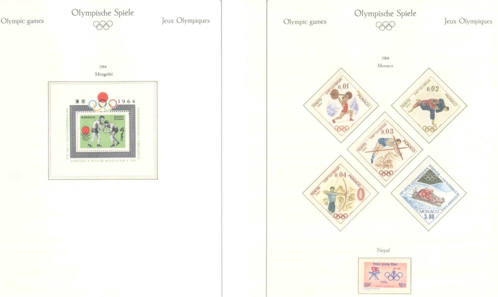 OLYMPISCHE SPIELE 1964 TOKIO, postfrische Sammlung Teil 1-48