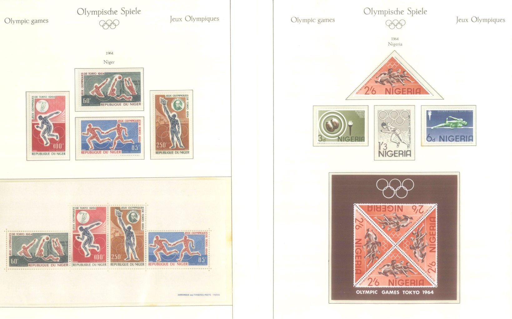 OLYMPISCHE SPIELE 1964 TOKIO, postfrische Sammlung Teil 1-50