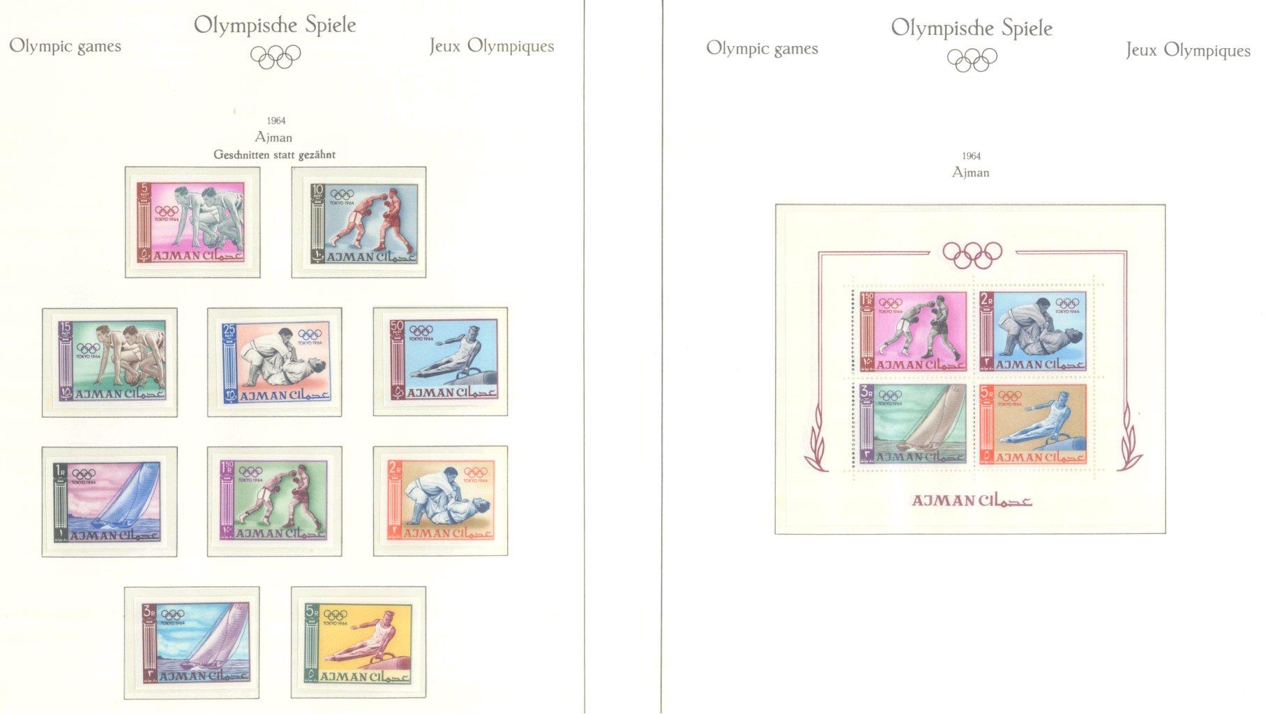 OLYMPISCHE SPIELE 1964 TOKIO, postfrische Sammlung Teil 1-58