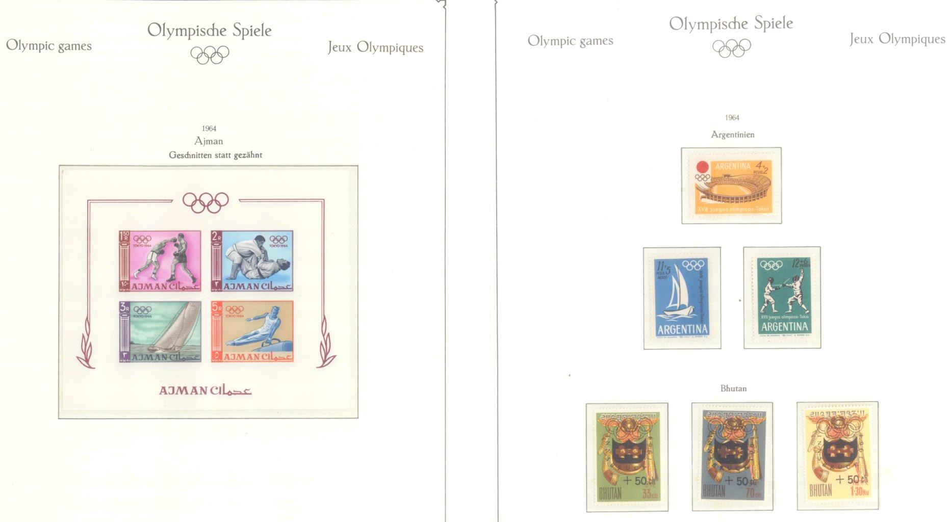 OLYMPISCHE SPIELE 1964 TOKIO, postfrische Sammlung Teil 1-59