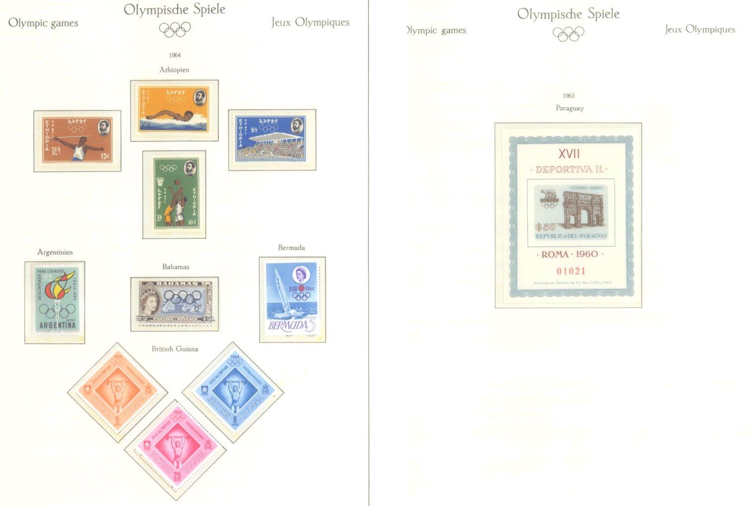 OLYMPISCHE SPIELE 1964 TOKIO, postfrische Sammlung Teil 1-60