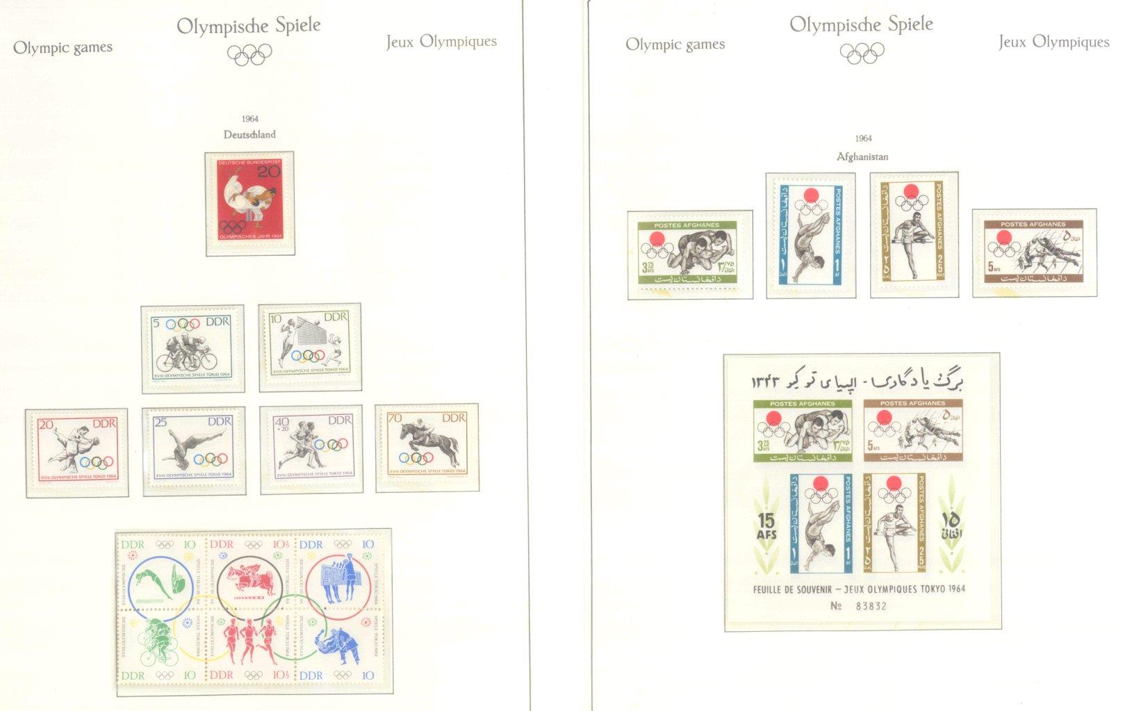 OLYMPISCHE SPIELE 1964 TOKIO, postfrische Sammlung Teil 1-62