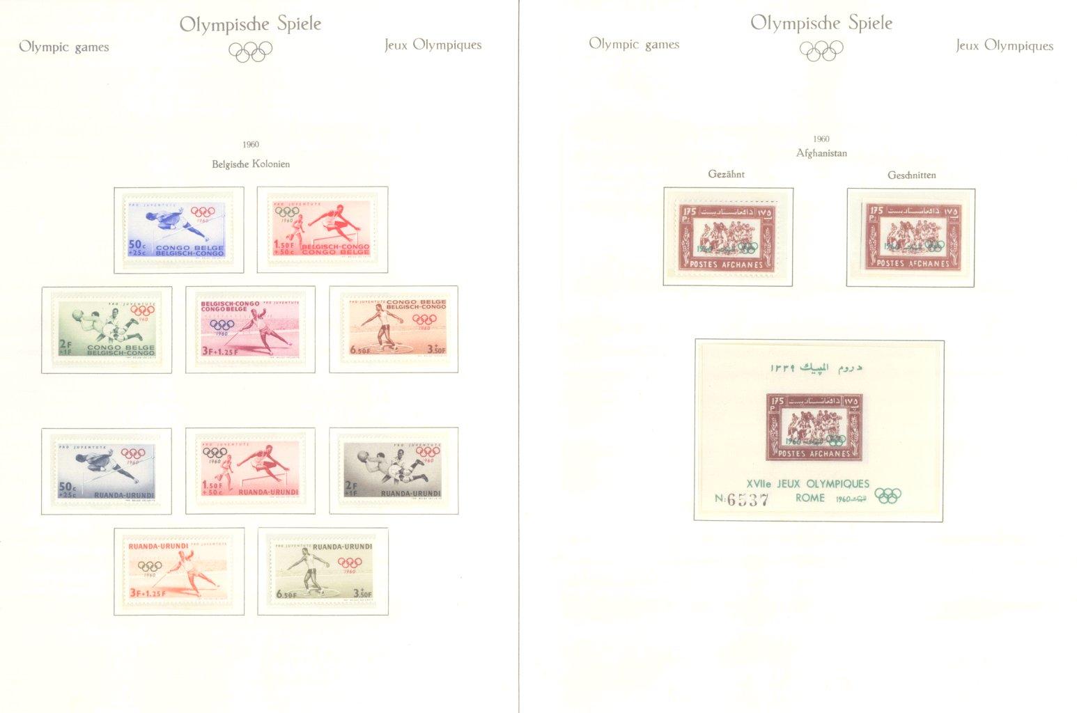 OLYMPISCHE SPIELE 1960 Rom, postfrische Sammlung