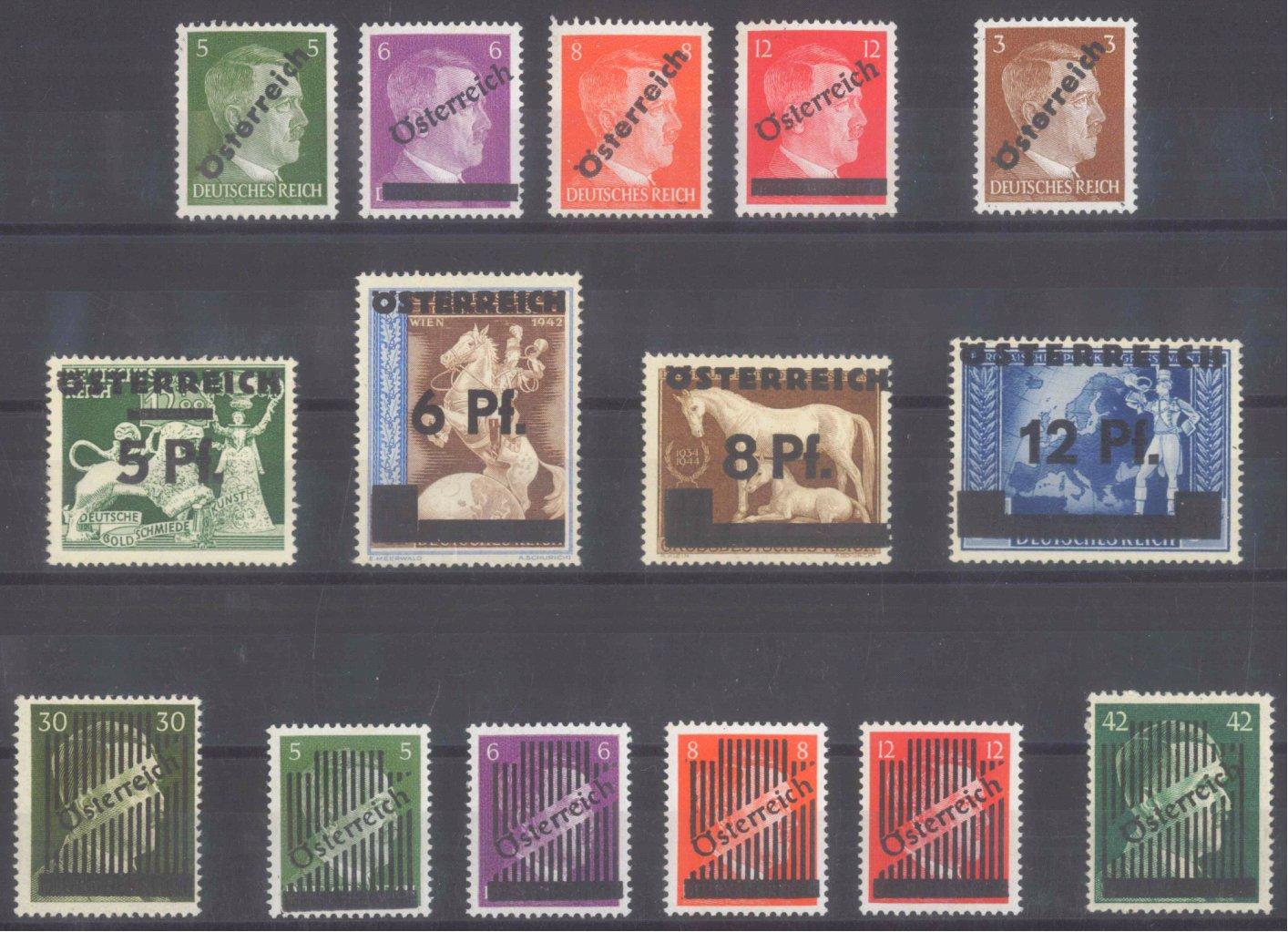 ÖSTERREICH 1945 ÜBERDRUCKE auf III. Reich Marken