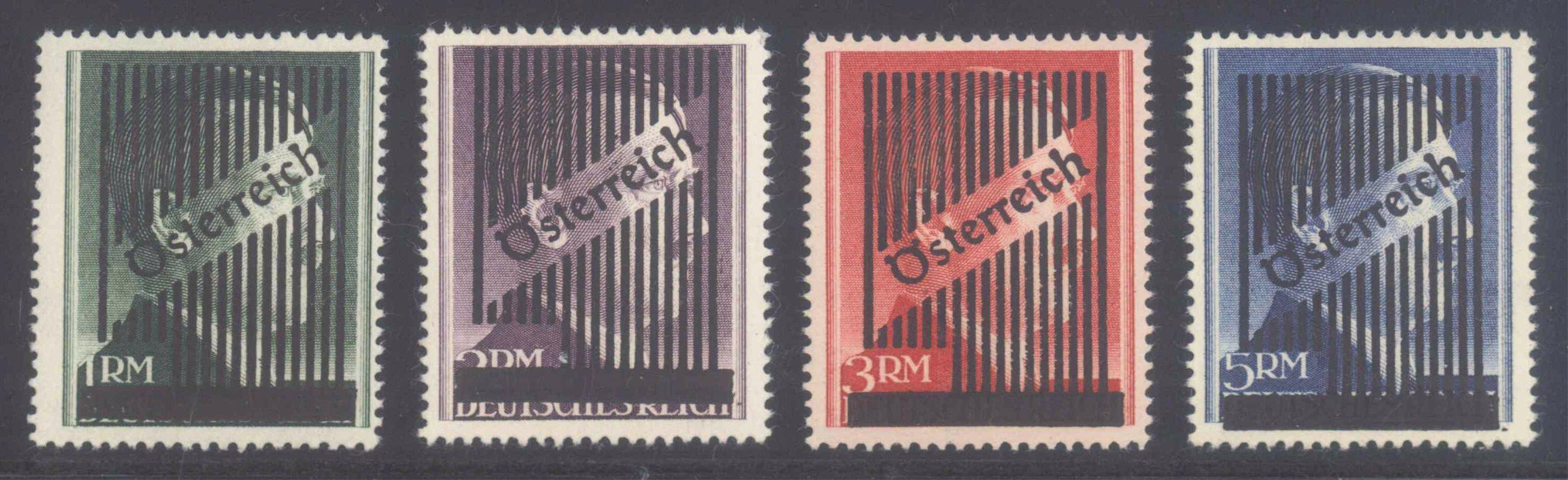 ÖSTERREICH 1945 GITTER – ÜBERDRUCKE auf UNVERAUSGABTEN