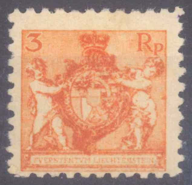 LIECHTENSTEIN 1921, 3 Rappen Landeswappen in Zähnung 9 1/2