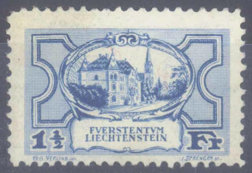 LIECHTENSTEIN 1925, 1 1/2 Franken Regierungsgebäude Vaduz