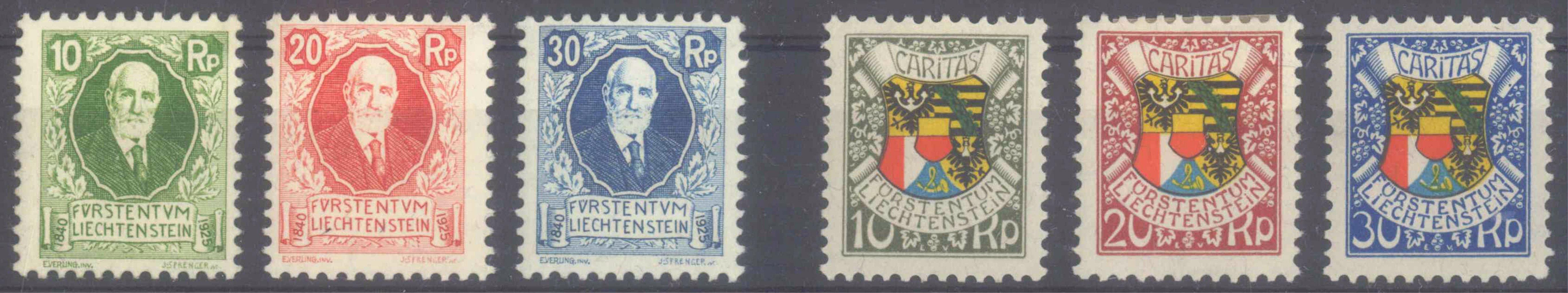LIECHTENSTEIN 1925/1927, Geburtstage Fürst Johann