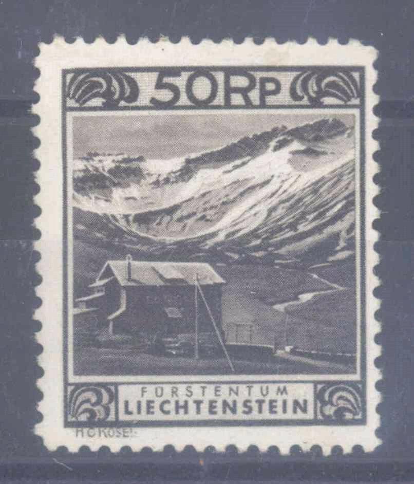 LIECHTENSTEIN 1930, 50 Rappen Kurhaus mit Zähnung C