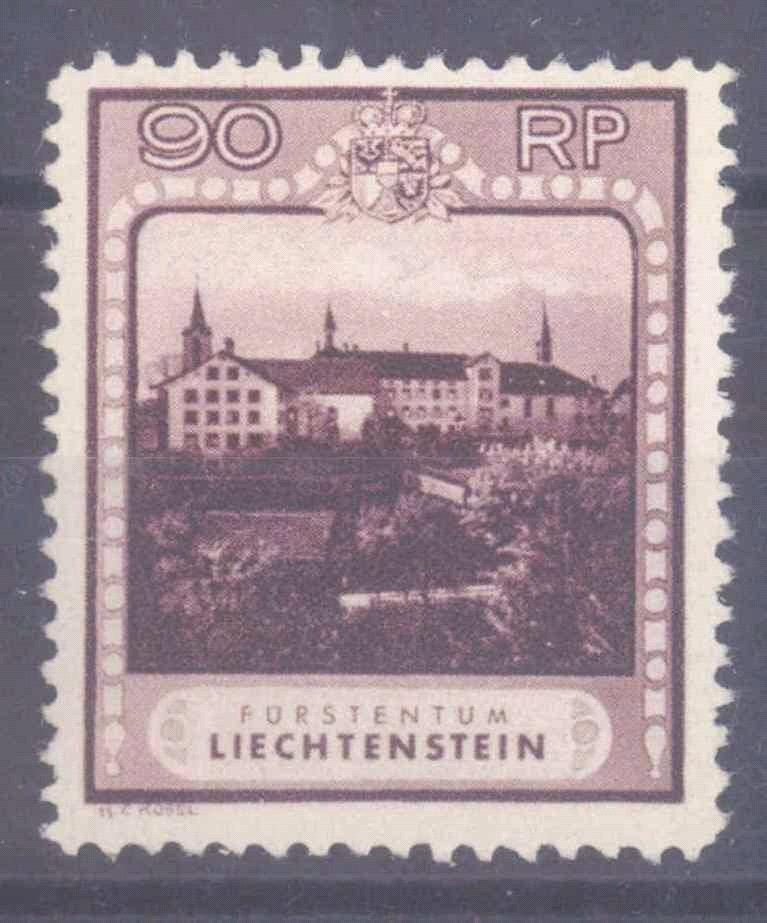 LIECHTENSTEIN 1930, 90 Rappen Kloster mit Zähnung B