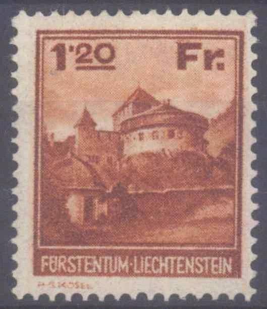 LIECHTENSTEIN 1933, 1,20 Rappen Schloss Vaduz