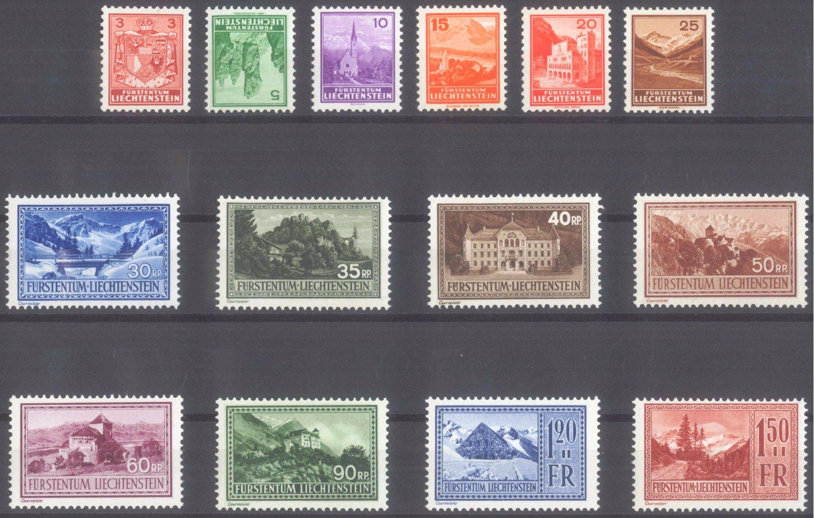 LIECHTENSTEIN 1934/1935, Landschaften