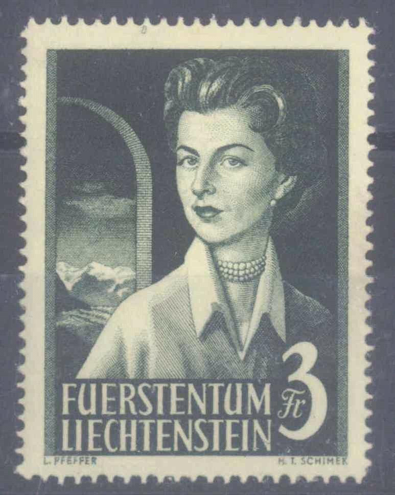 LIECHTENSTEIN 1955, 3 Franken Fürstin Gloria