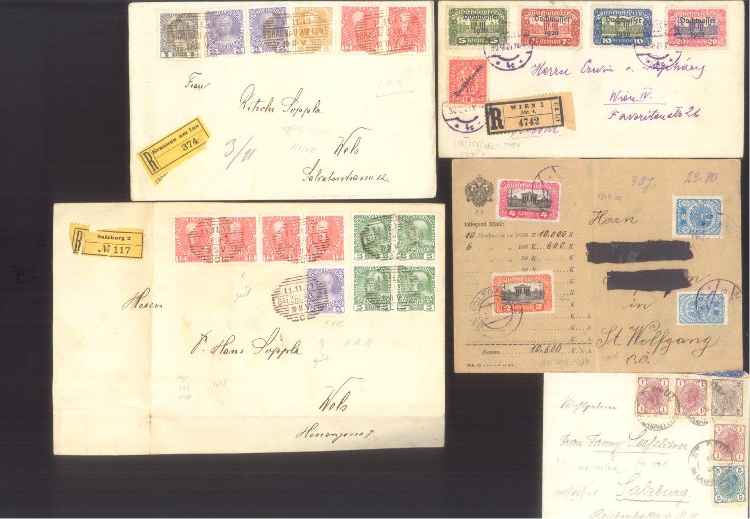 ÖSTERREICH 1883-1921, Belegepartie (auch Motiv DATUM!)